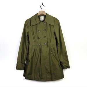 Tulle Olive Green Button Pleated Fit  Flare Jacket